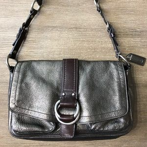 COACH Metallic Pewter Leather Shoulder Bag 8A49